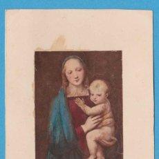 Coleccionismo Cromos antiguos: LA VIRGEN Y EL NIÑO. RAFFAELLO. ESTAMPA PEGADA EN CARTULINA. Lote 118263963