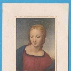 Coleccionismo Cromos antiguos: VIRGEN. RAFFAELLO. ESTAMPA PEGADA EN CARTULINA. Lote 118264059
