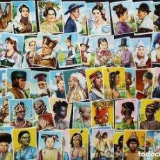 Coleccionismo Cromos antiguos: LOTE DE 79 CROMOS NUEVOS. RAZAS HUMANAS. CHICLES CHEIW. NUNCA PEGADOS.. Lote 119006259