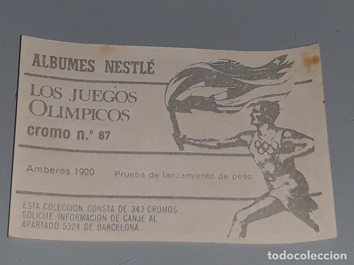 Antiguo Cromo Nº 67 De Nestle Los Juegos Olimpicos Amberes 1920 Lanzamiento De Peso