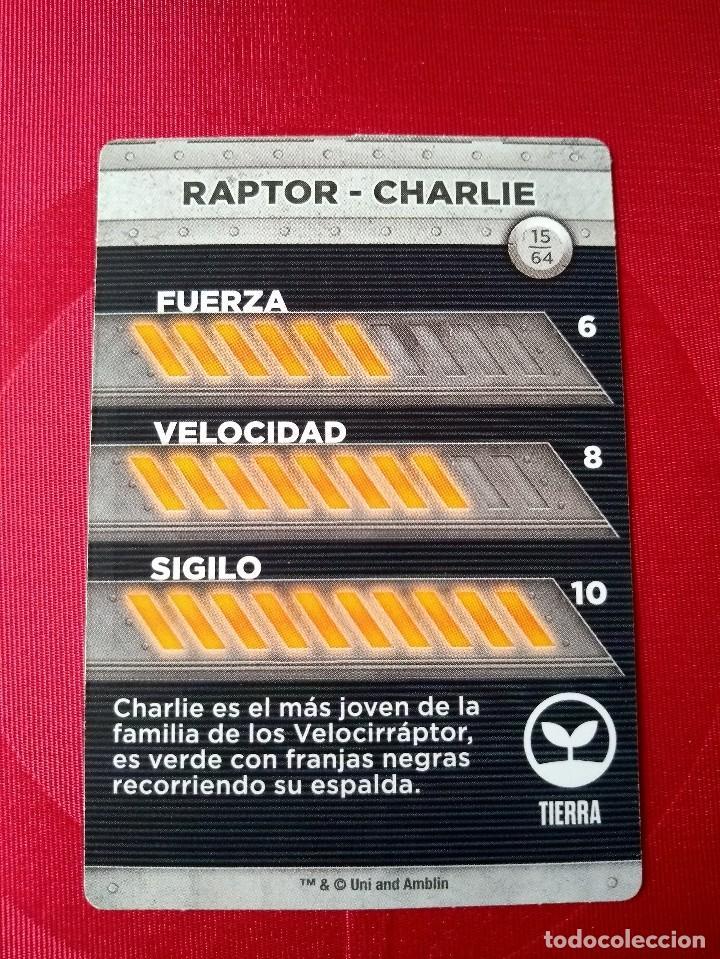 Coleccionismo Cromos antiguos: RAPTOR CHARLIE - Nº 15/64 - JURASSIC WORLD - DIANOSAURIOS - SUPERMERCADOS DIA - Foto 2 - 121878915