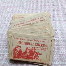 Coleccionismo Cromos antiguos: LOTE 22 SOBRES SIN ABRIR CHOCOLATES MOHER HISTORIA DE LA GUERRA. Lote 125201359