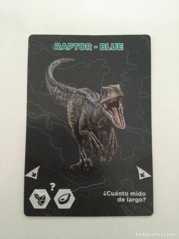 CARTA CROMO JURASSIC WORLD 2 EL REINO CAÍDO - #8 RAPTOR - BLUE - SUPERMERCADOS DIA (Coleccionismo - Cromos y Álbumes - Cromos Antiguos)