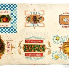 Coleccionismo Cromos antiguos: LÁMINA CROMOS ENVOLTURAS DE CARAMELOS DE SABORES AÑOS 20. Lote 127645971