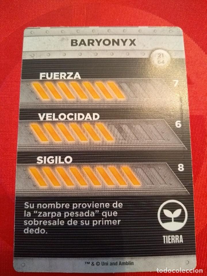Coleccionismo Cromos antiguos: BARYONYX - Nº 21/64 - JURASSIC WORLD - DIANOSAURIOS - SUPERMERCADOS DIA - Foto 2 - 128479855