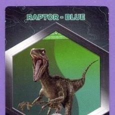 Coleccionismo Cromos antiguos: Nº 50 / 64 RAPTOR - BLUE CROMO CARTA JURASSIC WORLD DINOSAURIOS - DIANOSAURIOS SUPERMERCADOS DIA. Lote 128721403