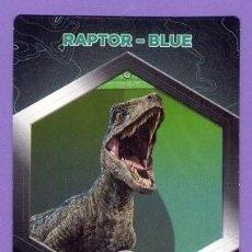 Coleccionismo Cromos antiguos: Nº 2 / 64 RAPTOR - BLUE CROMO CARTA JURASSIC WORLD DINOSAURIOS - DIANOSAURIOS SUPERMERCADOS DIA. Lote 128765631