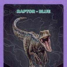Coleccionismo Cromos antiguos: Nº 8 / 64 RAPTOR - BLUE CROMO CARTA JURASSIC WORLD DINOSAURIOS - DIANOSAURIOS SUPERMERCADOS DIA. Lote 128766007
