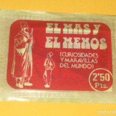 Coleccionismo Cromos antiguos: ANTIGUO SOBRE DE CROMOS EL MAS Y EL MENOS RUIZ ROMERO SIN ABRIR LOTE 16. Lote 131032924