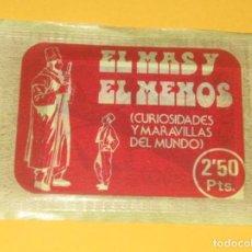 Coleccionismo Cromos antiguos: ANTIGUO SOBRE DE CROMOS EL MAS Y EL MENOS RUIZ ROMERO SIN ABRIR LOTE 19. Lote 131033152
