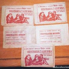 Coleccionismo Cromos antiguos: SOBRES SIN ABRIR, HISTORIA DE LA GUERRA, CHOCOLATES MOHER, . Lote 131679814