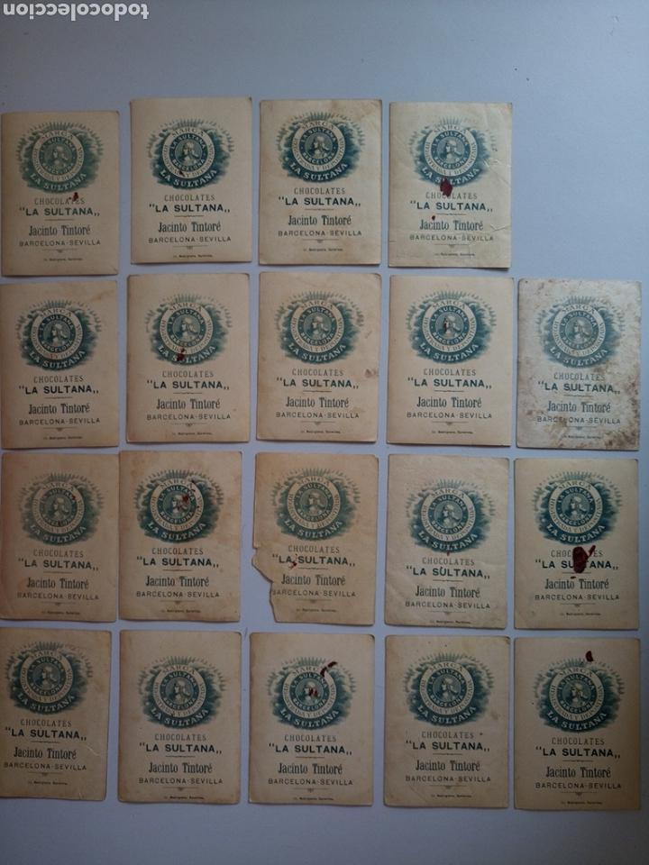 Coleccionismo Cromos antiguos: Lote de 19 antiguos cromos chocolate la Sultana - Foto 9 - 132303009