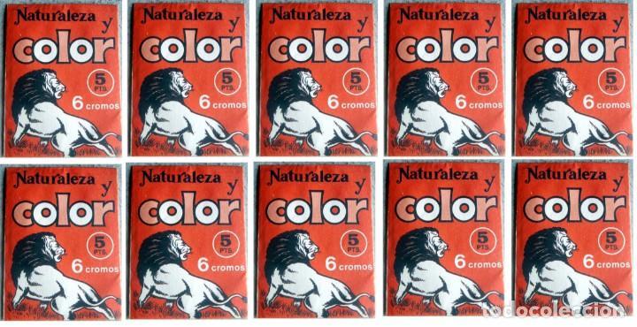 NATURALEZA Y COLOR LOTE DE 10 SOBRES ANTIGUOS SIN ABRIR 1980 (Coleccionismo - Cromos y Álbumes - Cromos Antiguos)