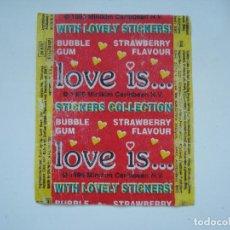 Coleccionismo Cromos antiguos: ENVOLTORIO LOVE IS CROMO CHICLES BUBBLE GUM! CHICLE CROMOS RARO AÑOS 90. Lote 133395718