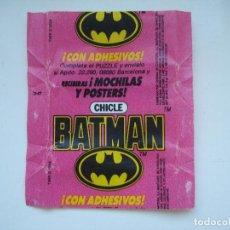 Coleccionismo Cromos antiguos: ENVOLTORIO BATMAN CROMO CHICLES BUBBLE GUM! CHICLE CROMOS RARO AÑOS 90. Lote 133397218
