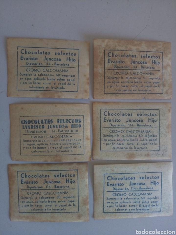 Coleccionismo Cromos antiguos: Lote de 6 antiguos cromos calcomonia chocolate juncosa - Foto 3 - 133795493