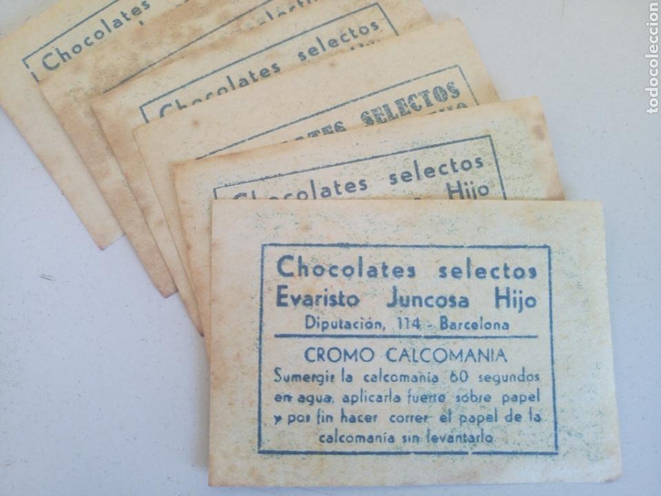 LOTE DE 6 ANTIGUOS CROMOS CALCOMONIA CHOCOLATE JUNCOSA (Coleccionismo - Cromos y Álbumes - Cromos Antiguos)