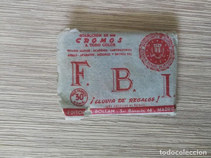 ANTIGUOS CROMOS Y SOBRE DEL ALBUM FBI - UNOS 6O CROMOS - AÑOS 1950 - EDITORIAL ROLLAN - (Coleccionismo - Cromos y Álbumes - Cromos Antiguos)