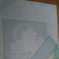 Coleccionismo Cromos antiguos: HOJA CARTA DE CAMBIO OLOR CON SOBRE ARLEQUÍN CON FLORES AÑOS 90 TAMAÑO CUARTILLA. Lote 144795458