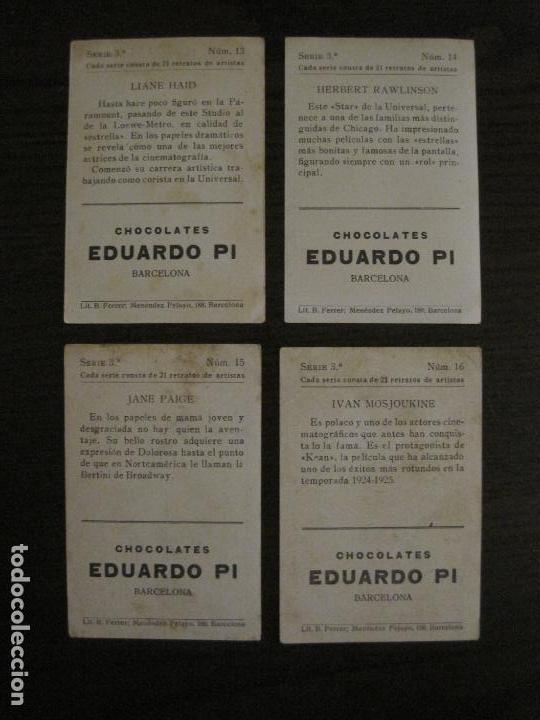 Coleccionismo Cromos antiguos: ARTISTAS DE CINE-COLECCION COMPLETA 21 CROMOS-CHOCOLATES EDUARDO PI-VER FOTOS-(V-16.021) - Foto 10 - 153693834