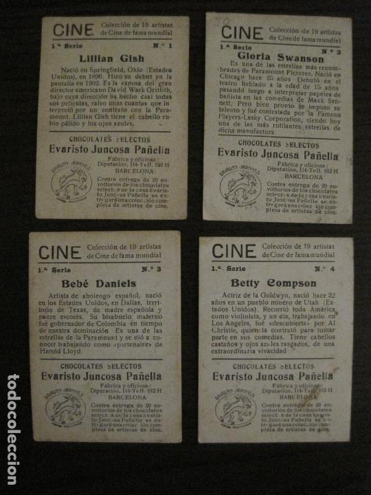 Coleccionismo Cromos antiguos: CINE-ARTISTAS DE CINE-COLECCION COMPLETA 19 CROMOS-CHOCOLATES JUNCOSA-VER FOTOS-(V-16.022) - Foto 4 - 153694130