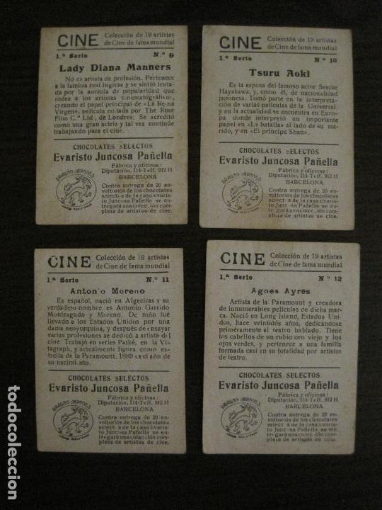 Coleccionismo Cromos antiguos: CINE-ARTISTAS DE CINE-COLECCION COMPLETA 19 CROMOS-CHOCOLATES JUNCOSA-VER FOTOS-(V-16.022) - Foto 8 - 153694130