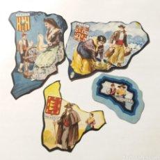 Coleccionismo Cromos antiguos: CROMOS TROQUELADOS CHOCOLATES JAIME BOIX PROVÍNCIAS 10 LÉRIDA, 22 VALLADOLID, 42 JAÉN, 49 MENORCA. Lote 155716158