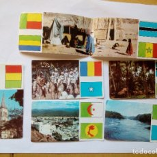 Coleccionismo Cromos antiguos: ÁFRICA EL MUNDO A TRAVÉS DE SUS CONTINENTES RAM, LOTE DE SEÍS CROMOS Y SEÍS BANDERAS AÑO 1968. Lote 156545344