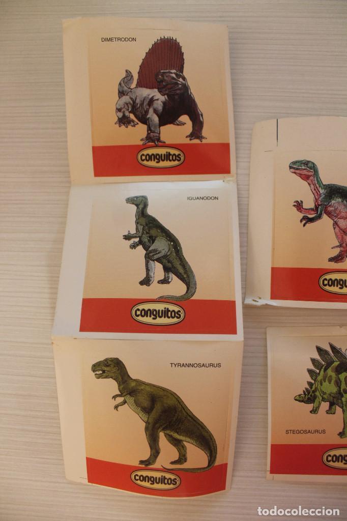 Coleccionismo Cromos antiguos: 9 CROMOS CONGUITOS DINOSAURIOS, ADHESIVOS, NUEVOS - Foto 3 - 157678034