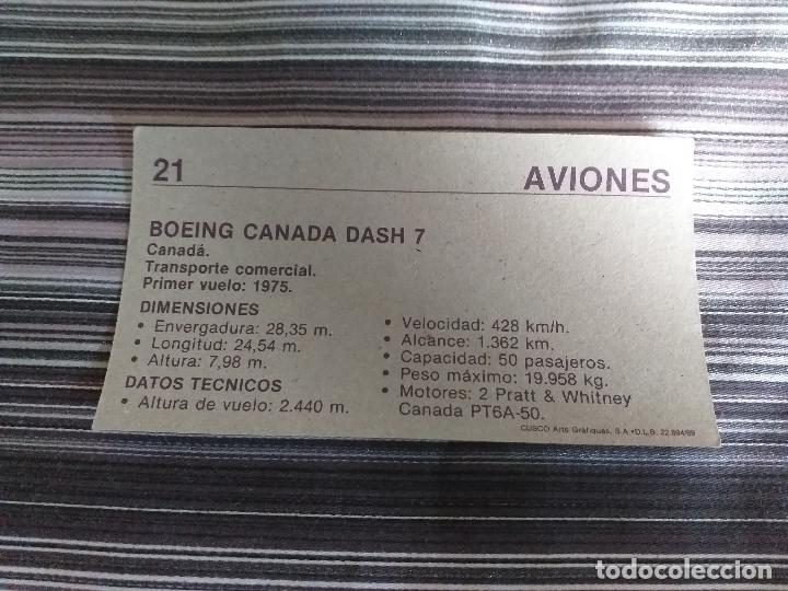 Coleccionismo Cromos antiguos: CROMO AVIONES CUSCO 1989 Nº 21 - Foto 2 - 160060134