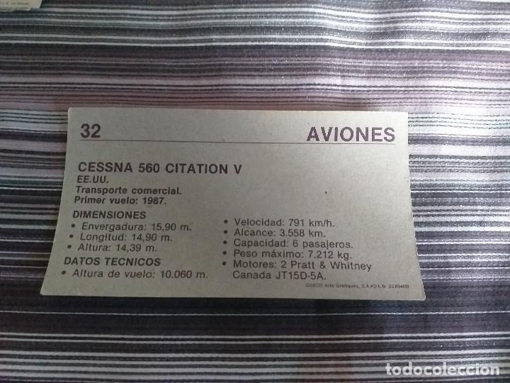 Coleccionismo Cromos antiguos: CROMO AVIONES CUSCO 1989 Nº 32 - Foto 2 - 160060386