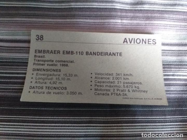 Coleccionismo Cromos antiguos: CROMO AVIONES CUSCO 1989 Nº 38 - Foto 2 - 160060414