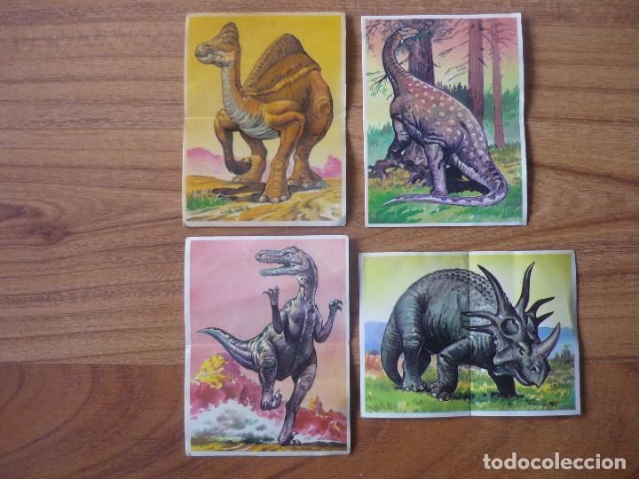 LOTE 4 CROMOS ADHESIVOS DINOSAURIOS PASTELITOS BOLLYCAO - NUNCA PEGADOS - 1993 (Coleccionismo - Cromos y Álbumes - Cromos Antiguos)