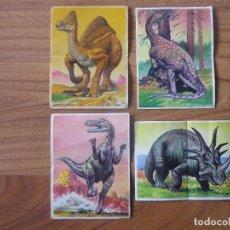 Coleccionismo Cromos antiguos: LOTE 4 CROMOS ADHESIVOS DINOSAURIOS PASTELITOS BOLLYCAO - NUNCA PEGADOS - 1993. Lote 160478646