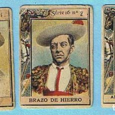 Coleccionismo Cromos antiguos: CROMOS SUELTOS. FOTOTIPIAS DE CAJAS DE CERILLAS. SERIE 16. TOROS. PICADORES. ANTERIOR A 1917.. Lote 161083950