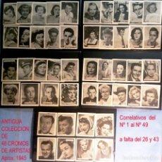 Coleccionismo Cromos antiguos: COLECCION DE 48 CROMOS DE ARTISTAS DE CINE 1945,CORRELATIVOS (1 AL 49, FALTA EL 26 Y 43) MED:6X5 CM.. Lote 163773138