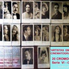 Coleccionismo Cromos antiguos: SERIE COMPLETA 20 CROMOS DE ARTISTAS EMINENTES CINEMATOGRAFICOS, SERIE VI.AÑOS 20 CINE MUDO,8 X 12 C. Lote 165120610