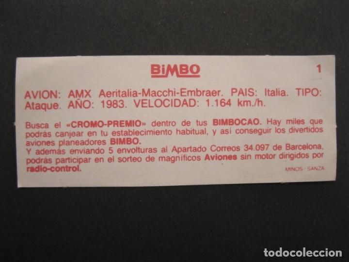 Coleccionismo Cromos antiguos: CROMO - AVIONES - Nº 1 - AMX AERITALIA-MACCHI-EMBRAER - BIMBOCAO - BIMBO - NUNCA PEGADO. - Foto 2 - 168049120