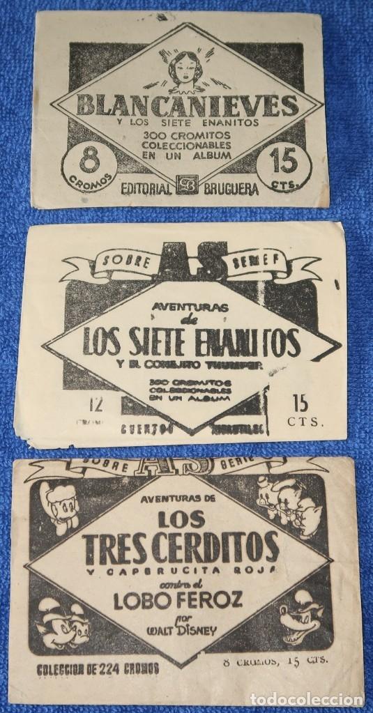 LOS TRES CERDITOS - CAPERUCITA ROJA - LOBO FEROZ - BLANCANIEVES - ENANITOS - BRUGUERA (Coleccionismo - Cromos y Álbumes - Cromos Antiguos)