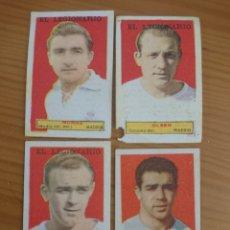 Coleccionismo Cromos antiguos: LOTE 4 CROMOS REAL MADRID (DI STEFANO) CONDIMENTOS EL LEGIONARIO Y LOS NOVIOS 1953-1954 SIN PEGAR. Lote 172777012
