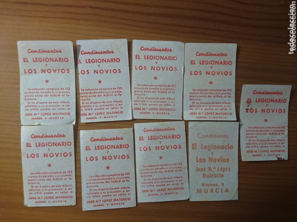 Coleccionismo Cromos antiguos: LOTE 9 CROMOS ESPAÑOL CONDIMENTOS EL LEGIONARIO Y LOS NOVIOS 1953-1954 SIN PEGAR - Foto 2 - 174047890