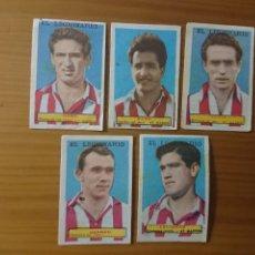 Coleccionismo Cromos antiguos: LOTE 5 CROMOS AT. MADRID CONDIMENTOS EL LEGIONARIO Y LOS NOVIOS 1953-1954 SIN PEGAR. Lote 174047945