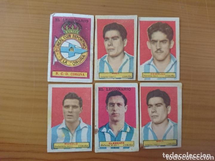 LOTE 6 CROMOS DEPORTIVO DE LA CORUÑA CONDIMENTOS EL LEGIONARIO Y LOS NOVIOS 1953-1954 SIN PEGAR (Coleccionismo - Cromos y Álbumes - Cromos Antiguos)