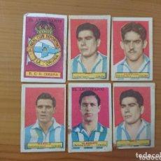 Coleccionismo Cromos antiguos: LOTE 6 CROMOS DEPORTIVO DE LA CORUÑA CONDIMENTOS EL LEGIONARIO Y LOS NOVIOS 1953-1954 SIN PEGAR. Lote 174151672
