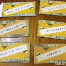 Coleccionismo Cromos antiguos: 6 ESTUCHES DE CROMOS CULTURALES ED BARSAL CERVANTES COLON NUMANCIA JUANA DE ARCO CARLOMAGNO BALBOA. Lote 175156465