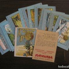 Coleccionismo Cromos antiguos: AVENTURAS AEREAS A TRAVES DEL AFRICA-COL·COMPLETA 17 CROMOS-CHOCOLATES TUPINAMBA-VER FOTOS-(V-17615). Lote 176689217