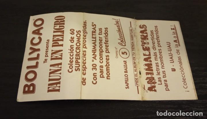 Coleccionismo Cromos antiguos: -BOLLYCAO FAUNA EN PELIGRO 1995 : 5 SAPILLO BALEAR + LETRA U UAU-UAU - Foto 2 - 176768459