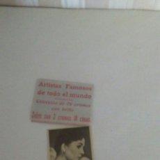 Coleccionismo Cromos antiguos: SOBRE + 1 CROMO DE ACTRIZ AÑOS 50. Lote 194407867