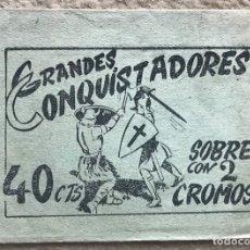 Coleccionismo Cromos antiguos: SOBRE DE CROMOS ÁLBUM GRANDES CONQUISTADORES - FERMA - AÑO 1960. Lote 182021452