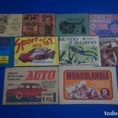 Coleccionismo Cromos antiguos: LOTE DE 10 SOBRES ANTIGUOS VACIOS DE AUTO 1967 MUNDOLANDIA MOTO 2000 CIENCIAS NATURALES........L5. Lote 194513251